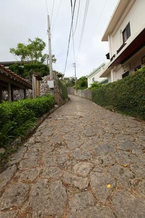 首里石畳 金城村屋・上り(縦):No.0089