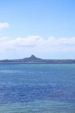 備瀬のフクギ並木から見える伊江島(縦):No.0383