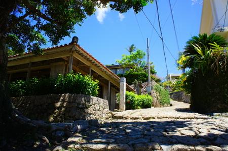 首里金城町石畳道と金城村屋・上り(横):No.0699