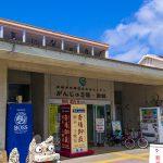 がんじゅう駅・入口付近とシーサー(縦):No.1740