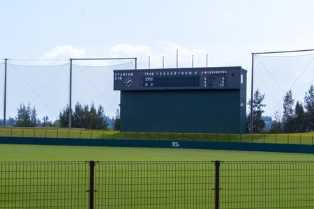 金武町ベースボールスタジアム・グラウンドとスコアボード(横):No.2086