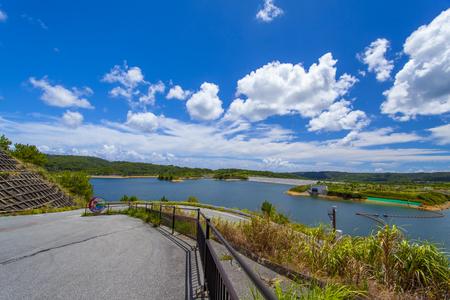 大保ダム・駐車場付近からのダム湖(横):No.2115
