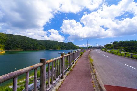 福地ダム・ダム湖と周辺道路(横):No.2163