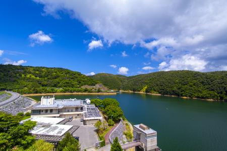 福地ダム・ダム施設とダム湖(横):No.2175