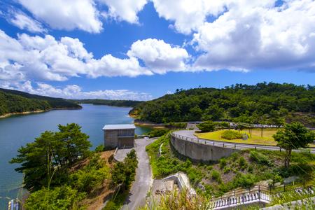 福地ダム・ダム施設とダム湖(横):No.2176