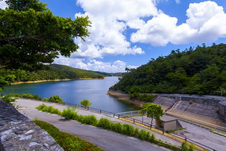 福地ダム・ダム施設とダム湖(横):No.2180