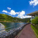 福地ダム・遊歩道とダム湖(横):No.2189