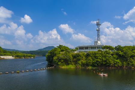 漢那ダム・ダム湖と管理支所(横):No.2231