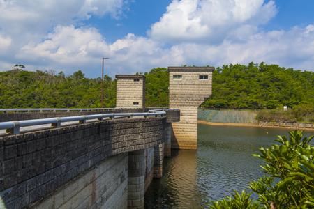 漢那ダム・ダム湖と周辺通路(横):No.2241