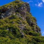 地上から見上げた城山(伊江島タッチュー)(縦):No.2413