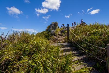 城山(伊江島タッチュー)山頂付近の階段(横):No.2392