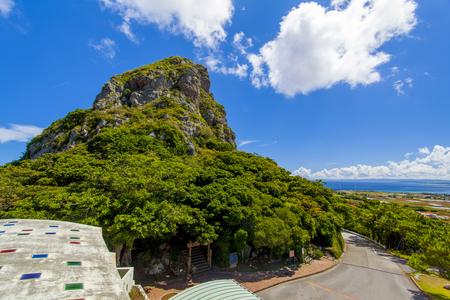 城山展望台からの城山(伊江島タッチュー)(横):No.2398
